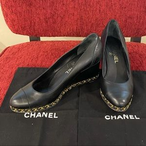 Authentic CHANEL Leather Gold Chain Wedge Pumps